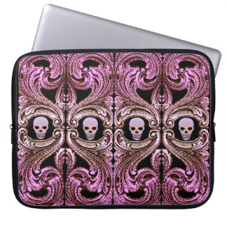 Goth Pink Ornament with Skull Laptop Sleeve
