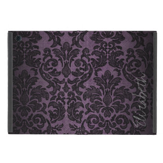 Goth Purple and Black Lace Pattern Custom Name Case For iPad Mini