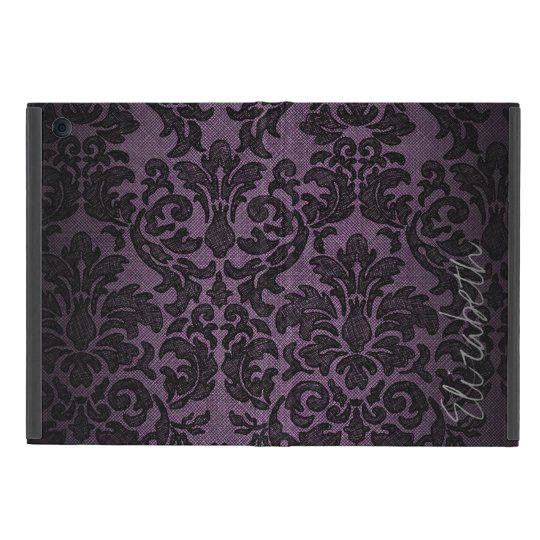 Goth Purple and Black Lace Pattern Custom Name iPad Mini Covers
