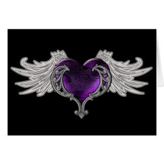 Goth Purple Heart with Angel Wings Card