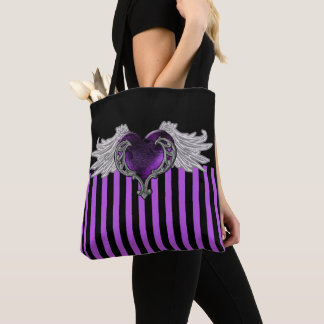 Goth Purple Heart with Angel Wings Tote Bag