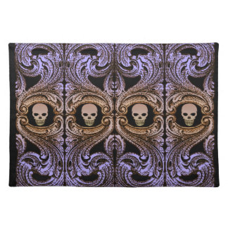 Goth Purple Ornament and Skull Placemat