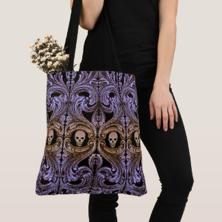 Goth Purple Ornament with Skull Tote Bag