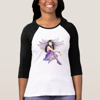 Goth Purple Skull Fairy Ladies 3/4 Sleeve Raglan Shirt