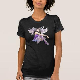 Goth Purple Skull Fairy Ladies Destroyed T-Shirt