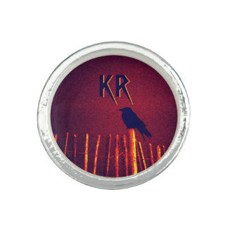 Goth Quoth The Raven Under Midnight Sky, Monogram Photo Rings