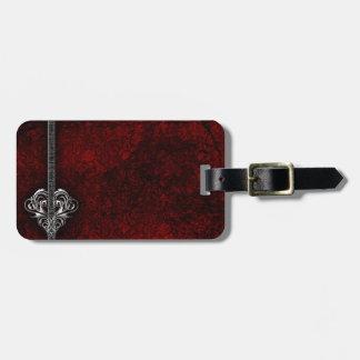 Goth Red Damask Silver Heart wedding Luggage Tag