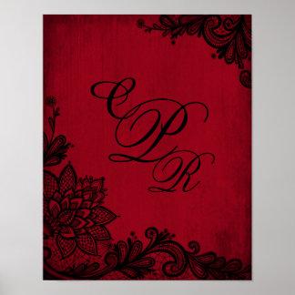 Goth Red Grunge Black Lace Wedding Monogram Poster