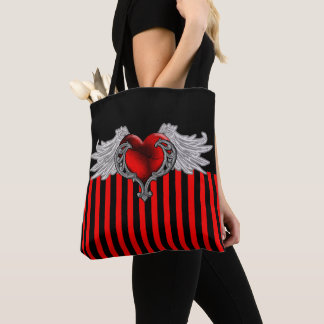 Goth Red Heart with Angel Wings Tote Bag