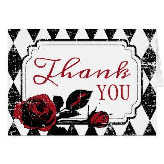 Goth Rose Grunge Diamond Print Thank You Card