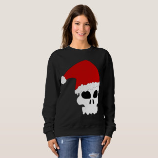 goth skull christmas womens sweatshirt