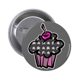 goth skull crossbones cupcake pinback buttons