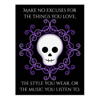 Goth skull positive words postcard