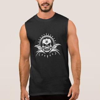 Goth Skull with Bat Wings and Pentagram Sleeveless Shirt