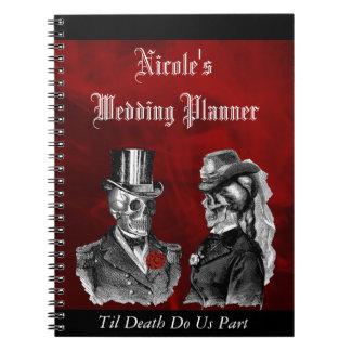 Goth Skulls Grunge Custom Wedding Planner Notebook