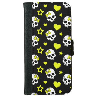 Goth Skulls & Hearts with Yellow Accents iPhone 6 Wallet Case