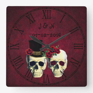 Goth Skulls Married Couple Custom Wedding Square Wall Clock