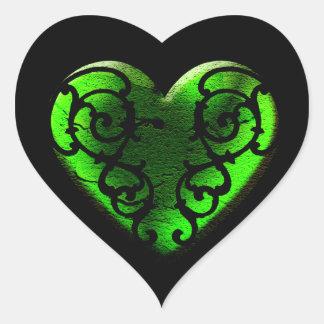 Goth St. Patrick's Day Green Heart Sticker