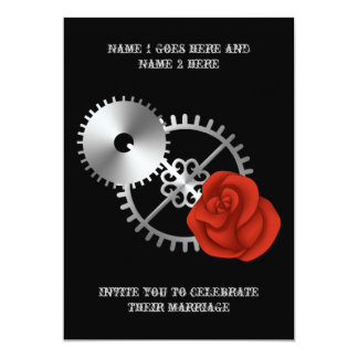 "Goth steampunk victorian rose and gears wedding 5"" x 7"" invitation card"