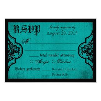 Goth Teal et carte noire de la dentelle RSVP Carton D'invitation 8,89 Cm X 12,70 Cm