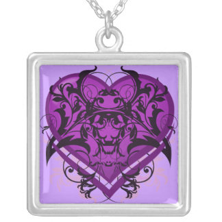Goth Tribal Flourish Purple Heart Silver Plated Necklace