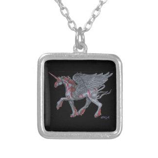 Goth Unicorn Silver Plated Necklace