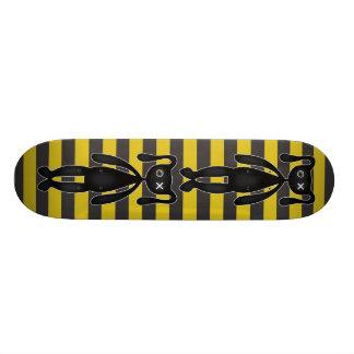 Goth Yellow and Black Bunny Custom Skate Board