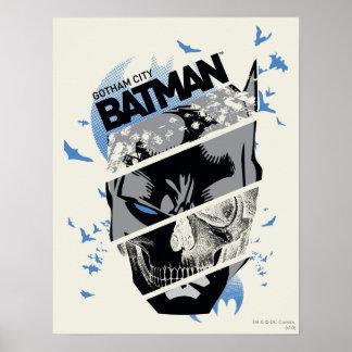 Gotham City Batman Skull Collage Poster