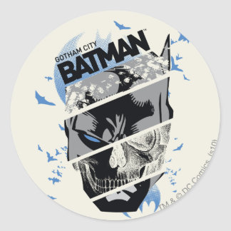 Gotham City Batman Skull Collage Round Sticker