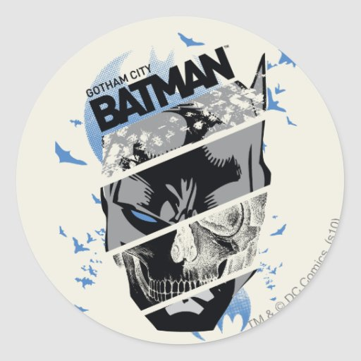Gotham City Batman Skull Collage Sticker