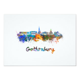 Gothenburg skyline in watercolor card