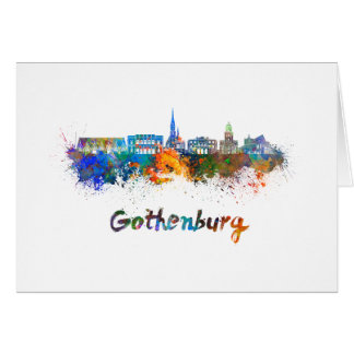 Gothenburg skyline in watercolor card