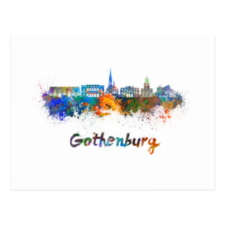 Gothenburg skyline in watercolor postcard