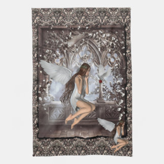 Gothic Angel and Her Dove Kitchen Towel