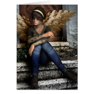 "Gothic Angel Fantasy ""Thinking About You"" Card"