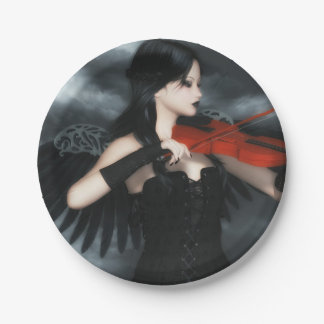 Gothic Angel Playing The Violin 7 Inch Paper Plate