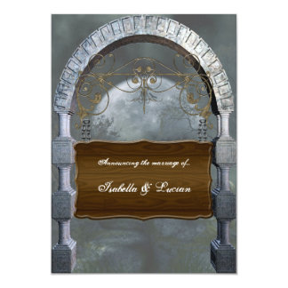 "Gothic Arch Plaque Vampire Goth Wedding 5"" X 7"" Invitation Card"