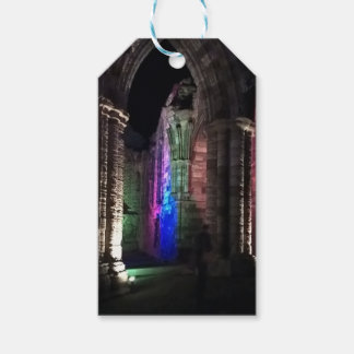 Gothic arches old ruined Whitby abbey night Gift Tags