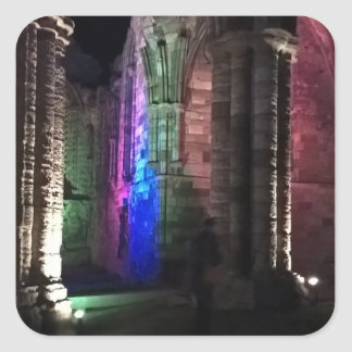 Gothic arches old ruined Whitby abbey night Square Sticker