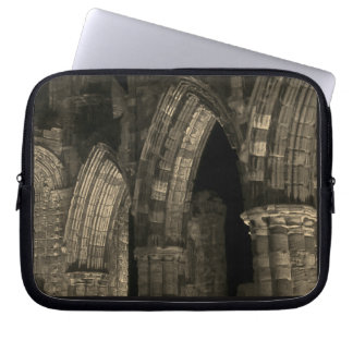 Gothic arches Whitby abbey ruins antique sepia Laptop Sleeve
