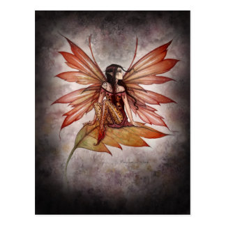 Gothic Autumn Fairy Art Postcard by Molly Harrison