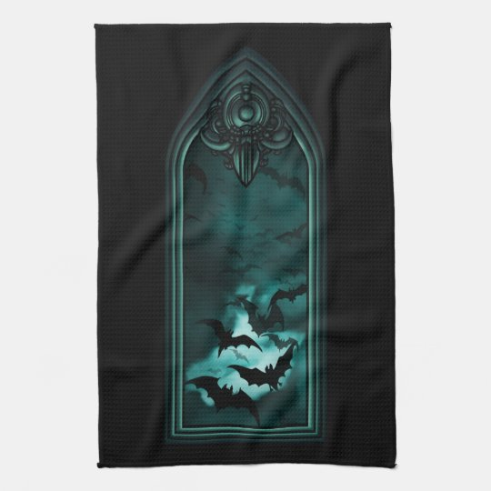 Gothic Bat Window III Kitchen Towel