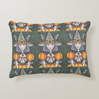 Gothic Bat Witch HALLOWEEN ACCENT PILLOW