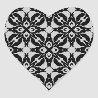 Gothic black and gray kaleidoscope envelope seals heart sticker