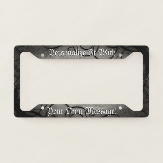 Gothic Black And Grey Swirls Personalized License Plate Frame