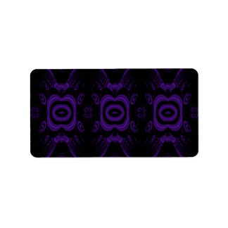 Gothic Black and Purple Floral Pattern. Label