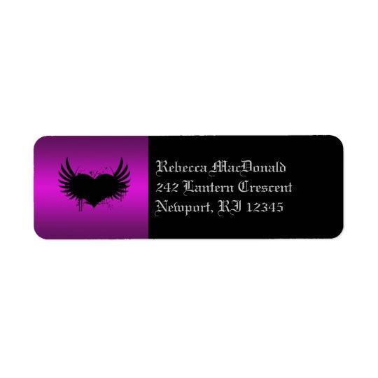 Gothic Black and Purple Return Address Label