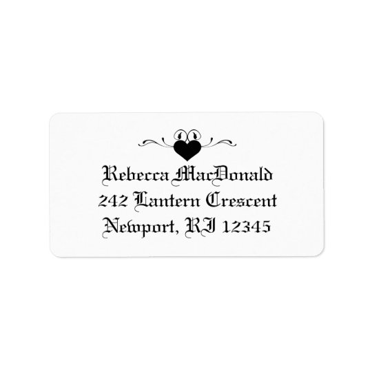 Gothic Black and White Address Label