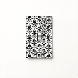 GOTHIC Black And White Floral Damask Pattern Light Switch Cover