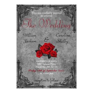 Gothic Black and White Rose Wedding Invitation